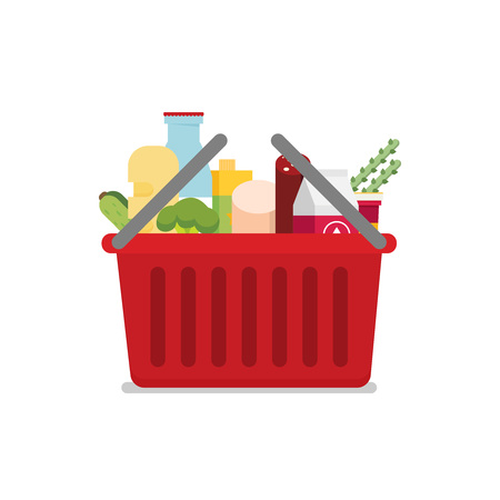Shopping basket with fresh food and drink.Buy grocery in the supermarket. Vector flat design illustration Ilustrace