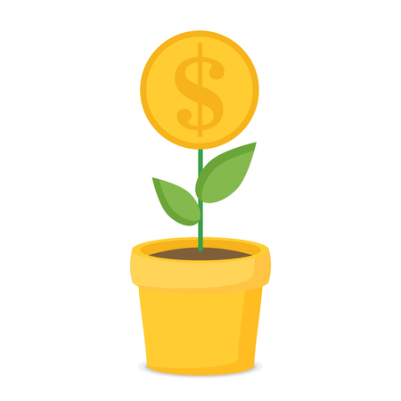 Investment concept with home plant in flower pot flat vector