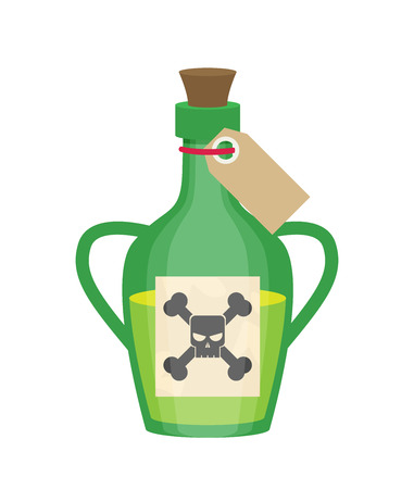 veneno frasco: Poison bottle flat vector icon isolated on white background Vectores