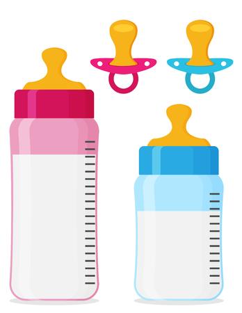 Conjunto de iconos de vector plano de biberones y chupetes de bebé Foto de archivo - 87225072