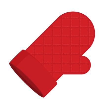 Oven mitten pictogram plat geïsoleerd Stock Illustratie