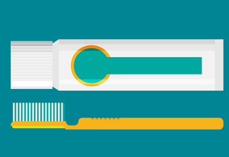 Toothbrush and toothpaste isolated on a flat background vector illustration.