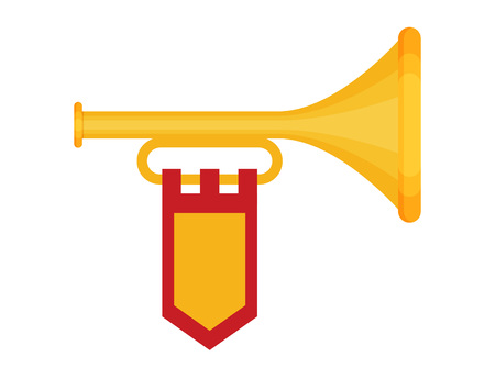 Flat vector Trumpet with flag icon.