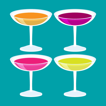 Flat isometric vector cocktail set