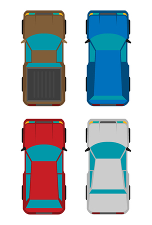 Set of four cars. Vector flat illustration Illustration