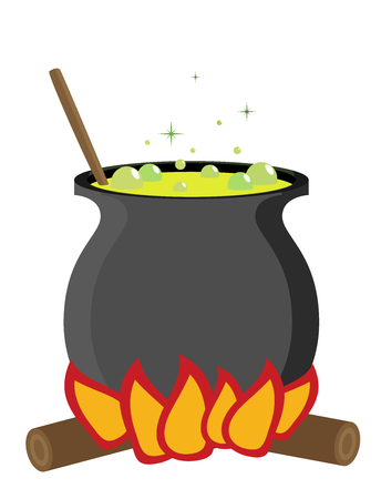 Color witch pot with potion in Cartoon style. Illustration