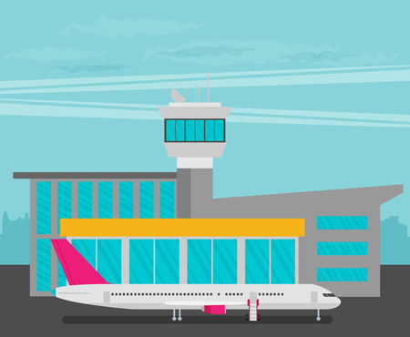 Travel Lifestyle Concept of Planning a Summer Vacation Tourism and Journey Symbol Airplane and also Airport Vector Illustration