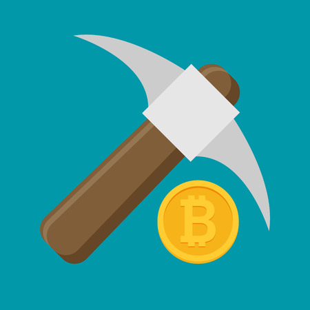 Bitcoin mining concept with pickaxe and coin flat vector
