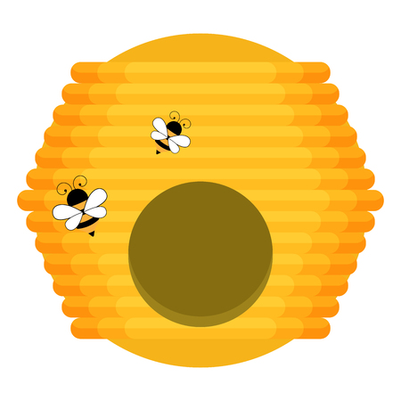 Flat illustration of beehive vector