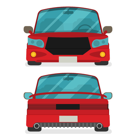Car front and rear. Vector flat illustration