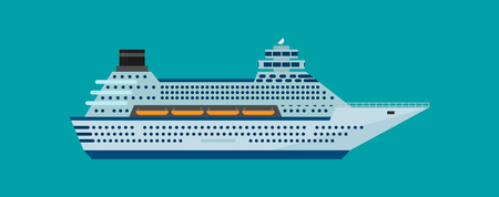 Vector illustration of cruise ship isolated in flat style