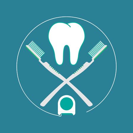 Brush teeth. Vector illustration flat design illustration. Illustration