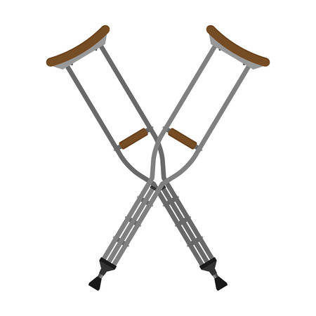 Flat vector crutches isolated on white background Illustration