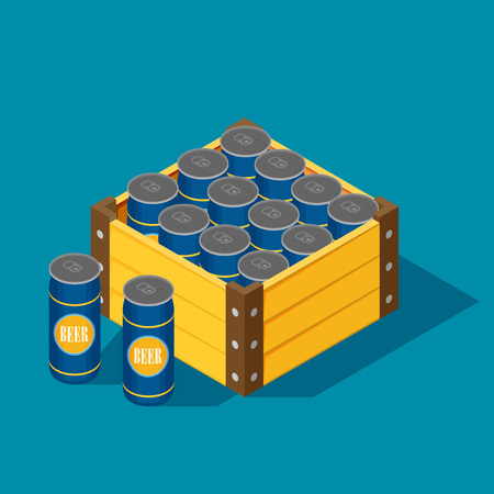 Vector color isometric icon with case of beer