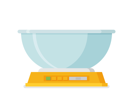 Electronic scales for products in flat design illustration.