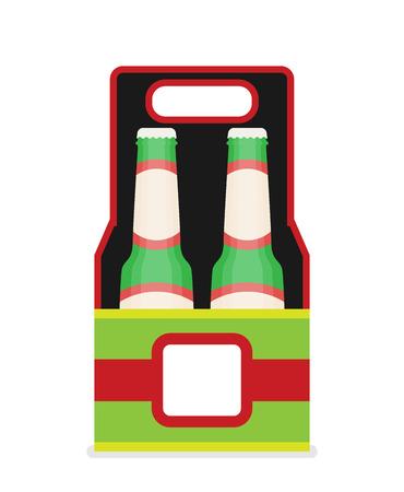 Pack of beer bottles flat style icon. Vector illustration. Illusztráció