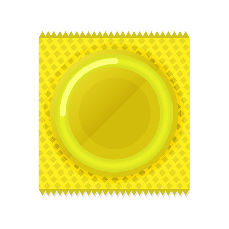 Condom plastic package in flat vector style illustration.