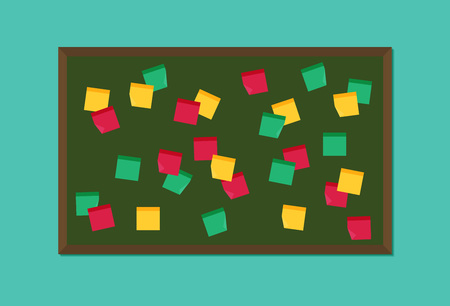 Flat vector blackboard with post it notes Illustration