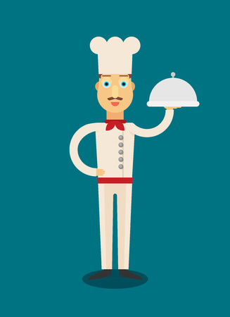 Vector illustration of chef serving a meal. Flat design illustration.
