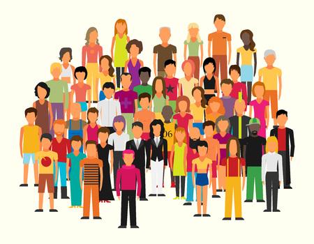 Płaska ilustracja członków społeczeństwa z dużą grupą mężczyzn i kobiet