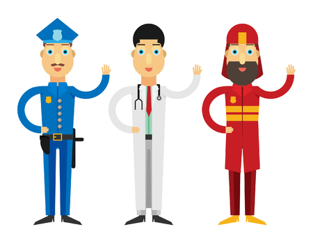 Set of people icons in flat style police fireman doctor