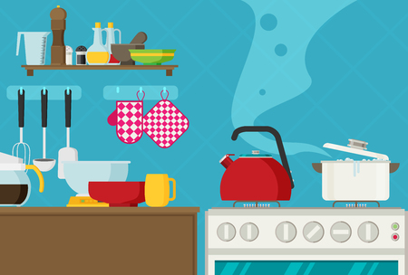Interior of kitchen, pans on the stove, cooking. Vector illustration in flat style Vettoriali