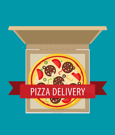 Open pizza box. Flat style design - vector