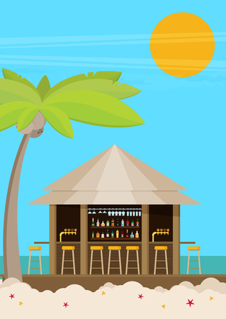 Beach bar on beach with sunshine. Flat vector