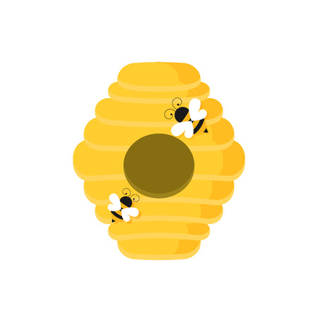 Flat illustration of beehive vector