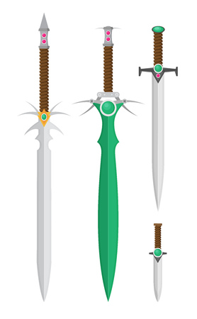 Flat design medieval swords set