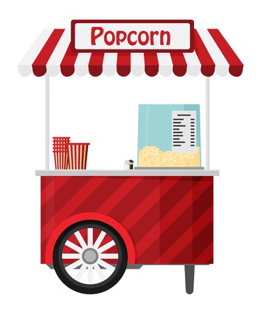 Carts retail, kiosk on wheels, popcorn flat vector