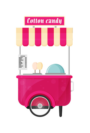 Carts retail, kiosk on wheels, cotton candy flat vector