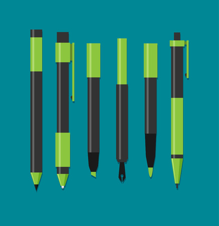Paint and writing tools flat icons
