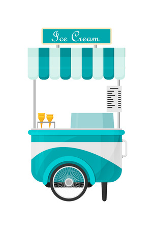 Shiny colorful ice cream cart vector illustration.