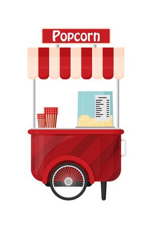 Carts retail, kiosk on wheels, popcorn flat vector