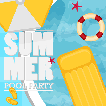 Summer pool. Flat Design Style.