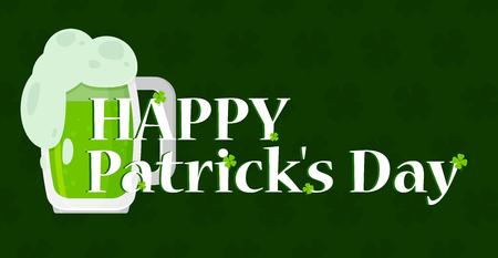 Happy Saint Patricks day banner in flat style vector Illustration