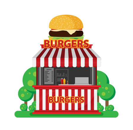 Burgers shop vector flat illustration isolated on white background.