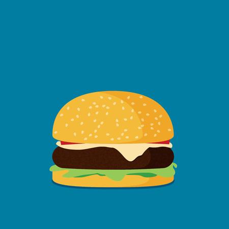 Hamburger flat design vector.