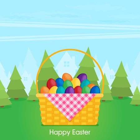 Flat vector eggs in wicker basket. Illustration