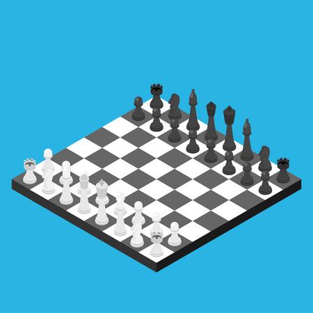 Chess isometric game isometric series. Illustration