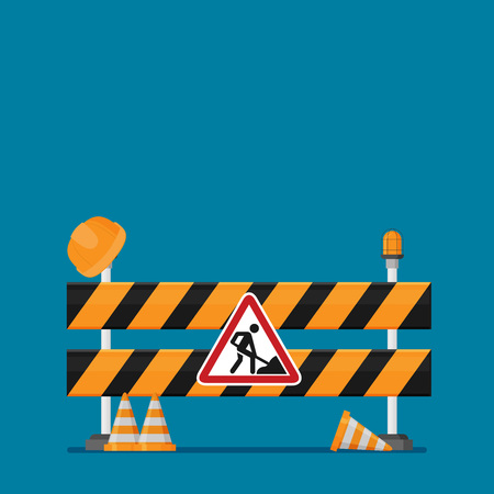 Under construction concept in flat design style, vector illustration.