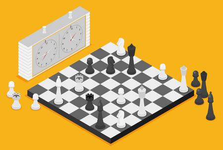 Flat chess isometric illustration. Vectores