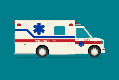 Flat ambulance car vector illustration isolated.