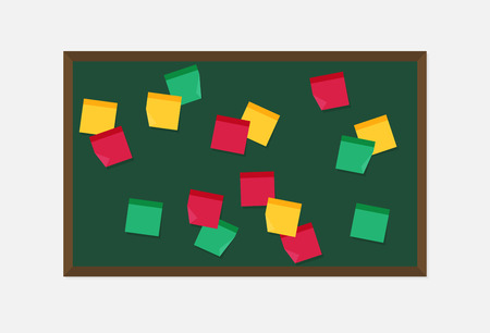 Flat vector blackboard with sticky notes.