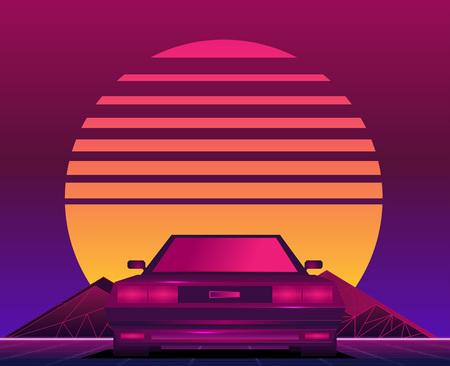 Retro future, 80s style Sci-Fi Background. Futuristic car. Illustration