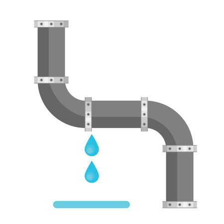 Broken metal pipe with leaking water, flat style vector illustration