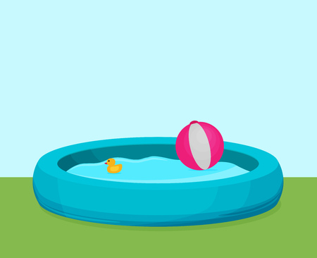 Inflatable Pool vector. Flat design.