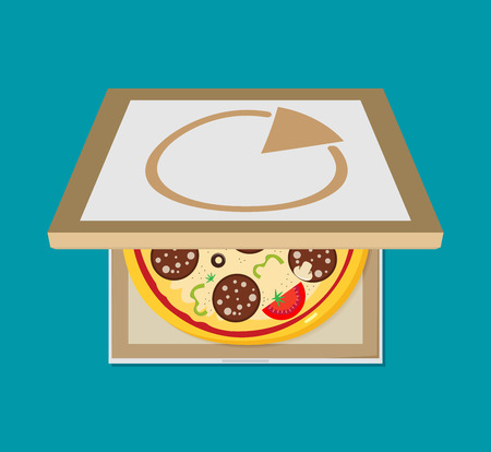 Open pizza box. Flat style design - vector