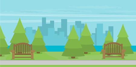 Public park in the City. Vector illustration. Ilustração